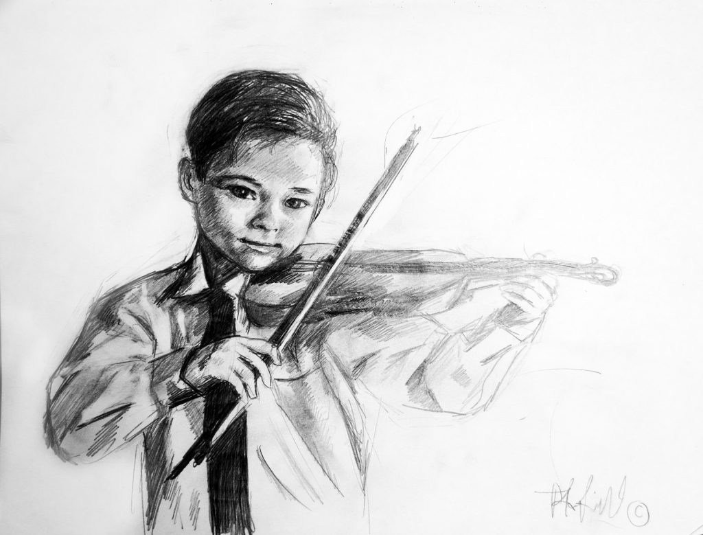 The first violin study age 12 original pencil sketch